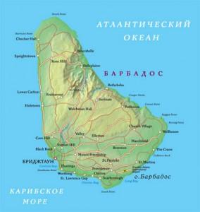 Карта Барбадоса. Столица - Бриджтаун.