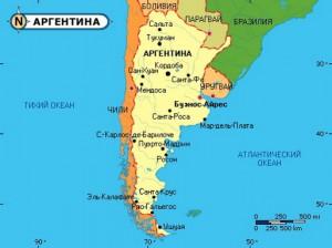 Карта Аргентины. Столица - Буэнос- Айрес.