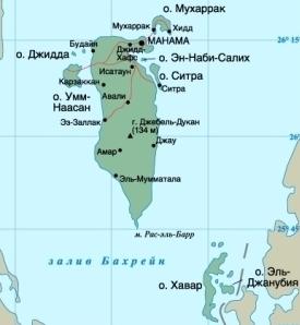 Карта Бахрейна. Столица - Манама.