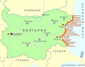 Карта Болгарии. Столица - София.