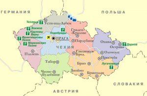 Карта Чехии. Столица - Прага.
