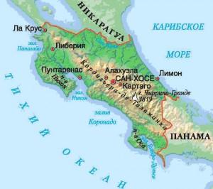 Карта Коста-Рики. Столица - Сан-Хосе.