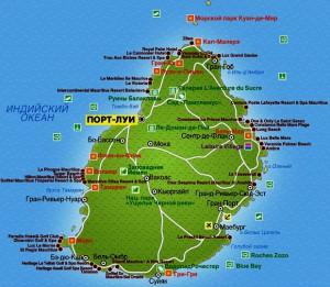 Карта о.Маврикий. Столица - Порт-Луи.