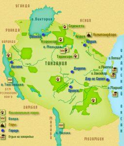 Карта Танзании. Столица - Додома.