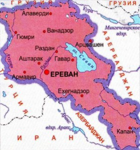 Карта Армении. Столица - Ереван.