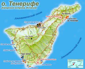 Карта Тенерифе. Столица - Санта-Крус-де-Тенерифе.