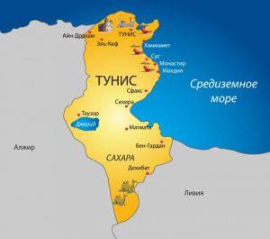 Карта Туниса. Столица - Тунис.