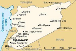 Карта Сирии. Столица - Дамаск.