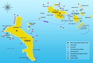 Карта Сейшел. Столица - Виктория.