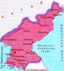 Карта Северной Кореи. Столица - Пхеньян.