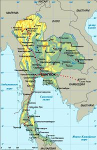 Карта Таиланда. Столица - Бангкок.