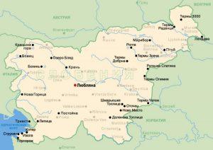 Карта Словении. Столица - Любляна.