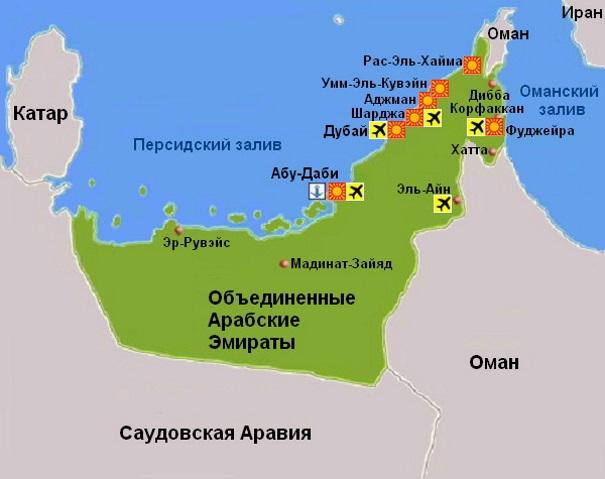 Карта ОАЭ. Столица - Абу-Даби.