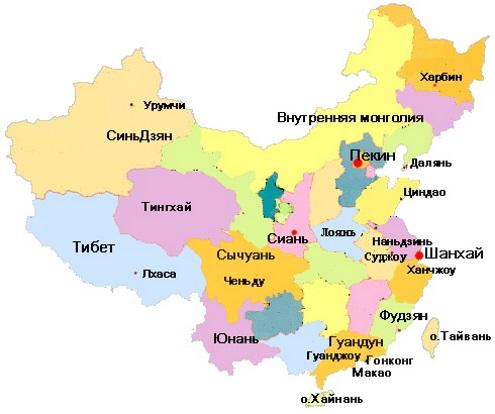 Карта Китая. Столица - Пекин.