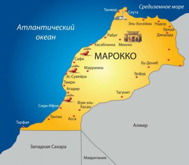 Карта Марокко. Столица - Рабат.