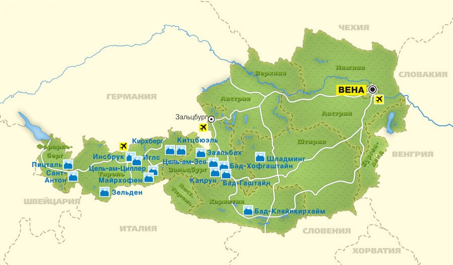 Карта Австрии. Столица - Вена.