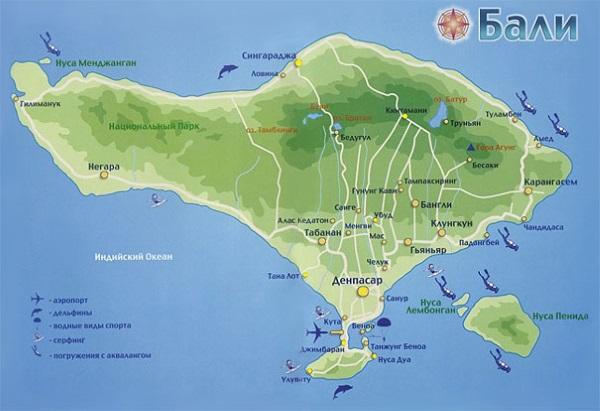Карта Бали. Столица - Денпасар.
