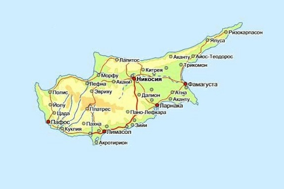 Карта Кипра. Столица - Никосия.