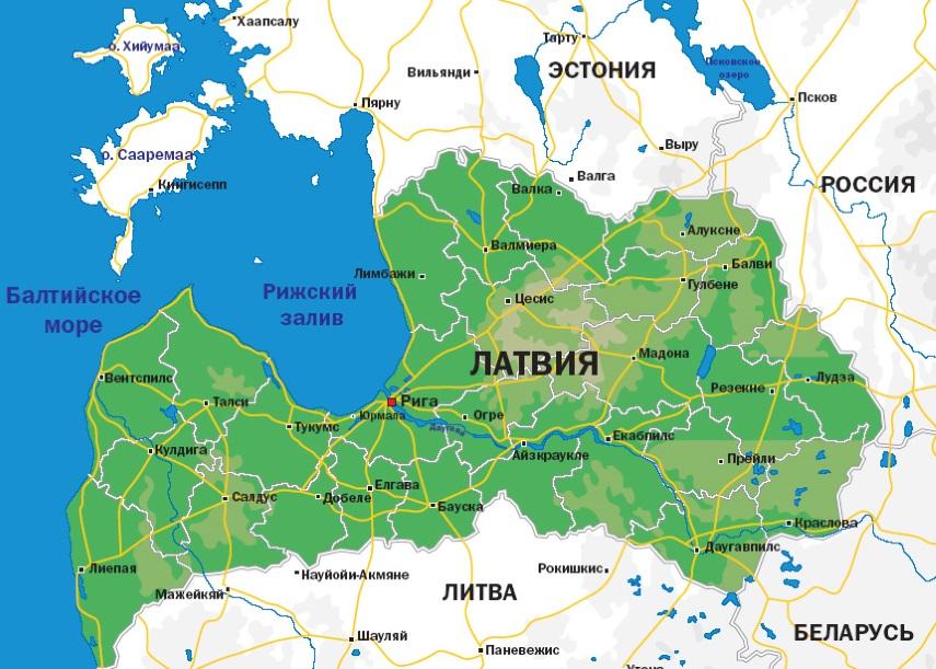 Карта Латвии. Столица - Рига.