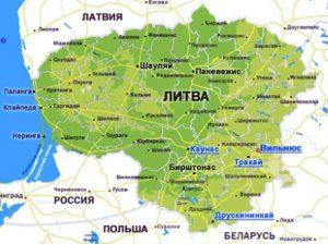 Карта Латвии. Столица - Вильнюс.