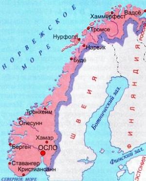 Карта Норвегии. Столица - Осло.