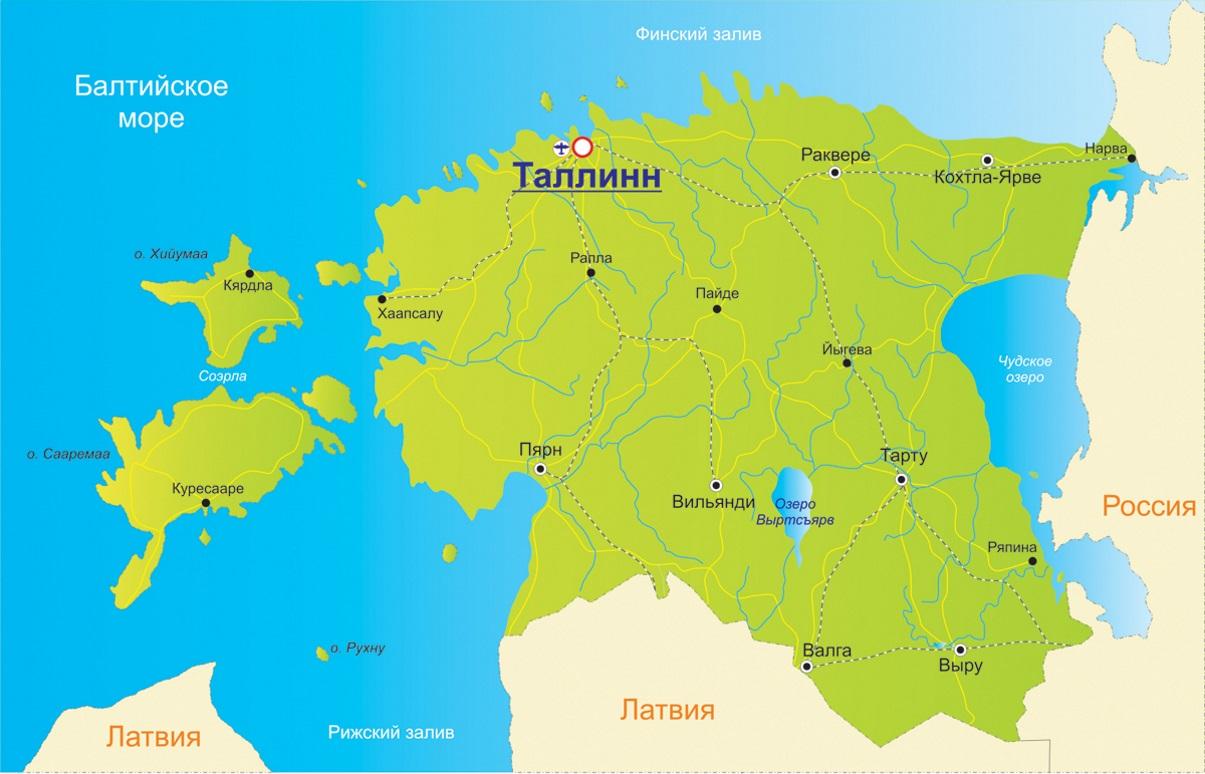 Карта Эстонии. Столица - Таллинн.
