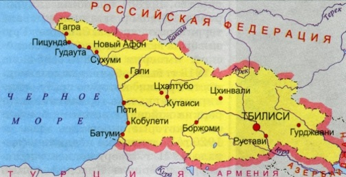 Карта Грузии. Столица - Тбилиси.