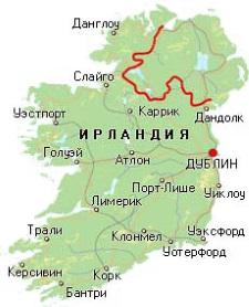 Карта Ирландии. Столица - Дублин.
