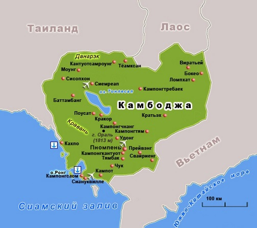 Карта Камбоджи. Столица - Пномпень.