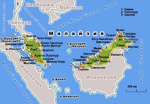 Карта Малайзии. Столица - Куала-Лумпур.