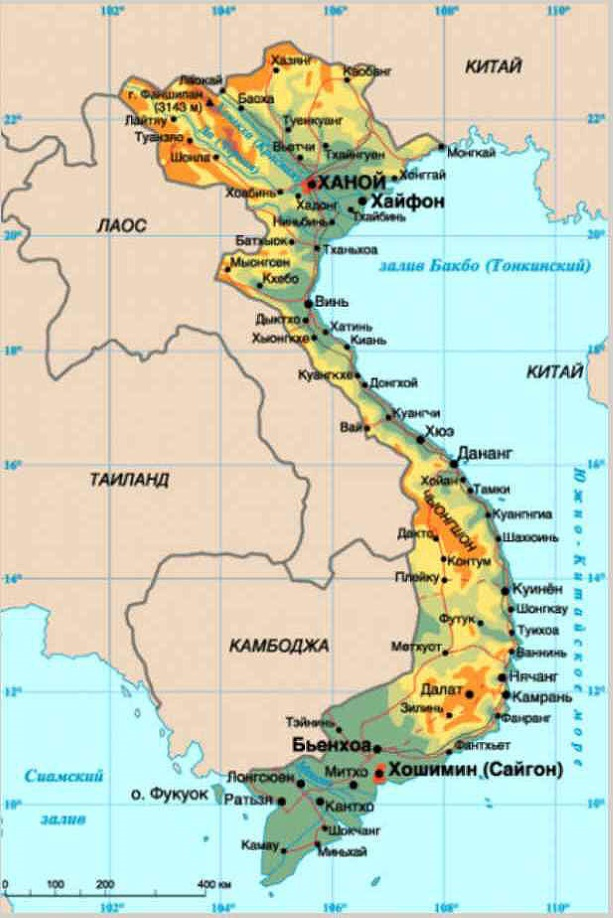 Карта Вьетнама. Столица - Ханой.