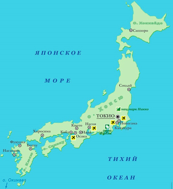 Карта Японии. Столица - Токио.