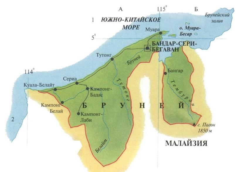Карта Брунея. Столица - Бандар-Сери-Бегаван.
