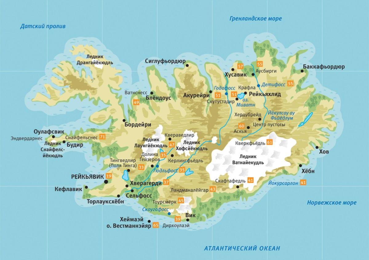 Карта Исландии. Столица - Рейкьявик.