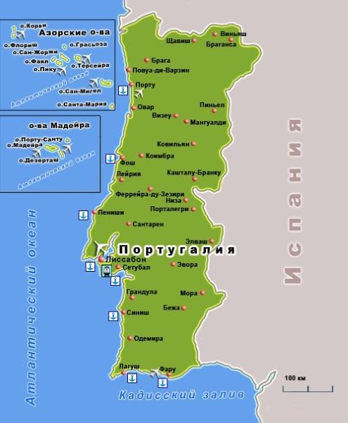 Карта Португалии. Столица - Лиссабон.