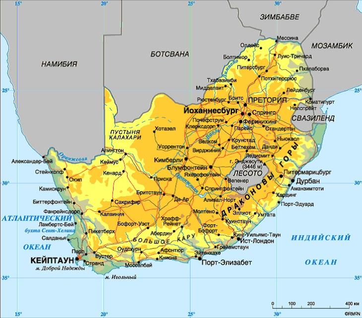 Карта ЮАР. Столицы: Претория, Кейптаун, Блумфонтейн.