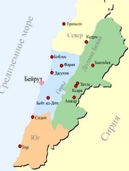 Карта Ливана. Столица - Бейрут.