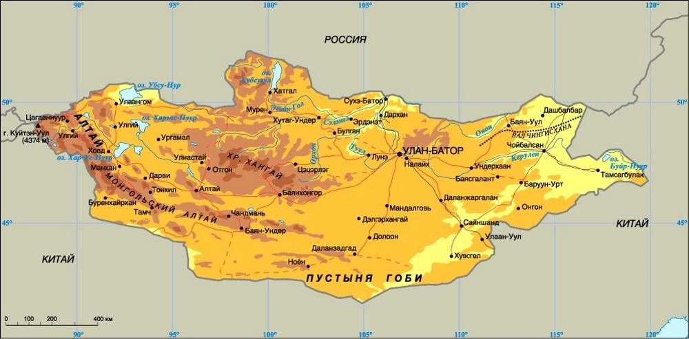 Карта Монголии. Столица - Улан-Батор.