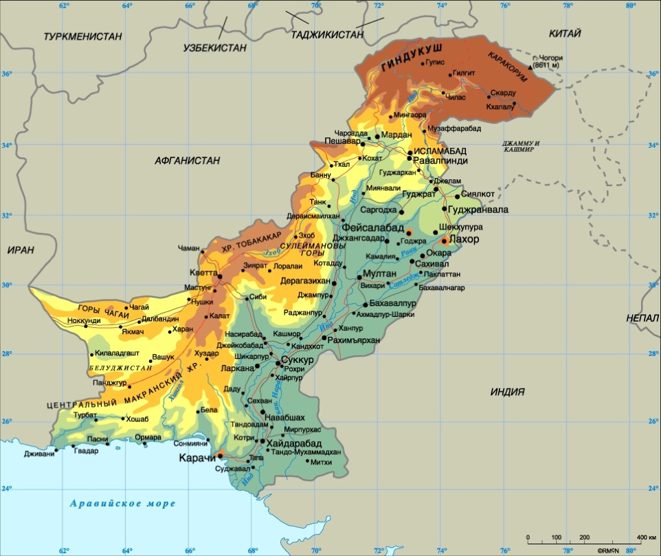 Карта Пакистана. Столица - Исламабад.