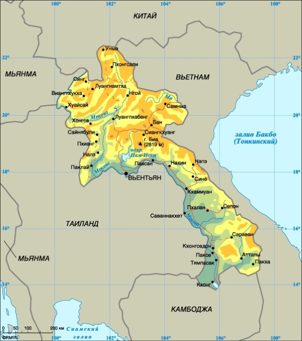 Карта Лаоса. Столица - Вьентьян.