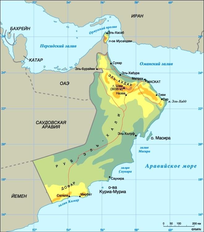 Карта Омана. Столица - Маскат.